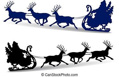 árnykép, klaus, karácsony, őz, háttér, szent, sleigh, fehér, gördülni, karikatúra