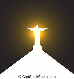 árnykép, krisztus, ellen-, jézus, rio, szobor, út, janeiro, üdvözítés