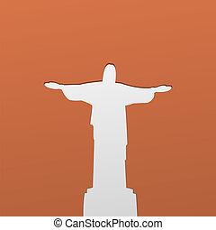 árnykép, krisztus, janeiro, ellen-, jézus, rio, szobor