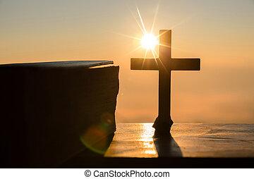 árnykép, krisztus, kereszt, jézus, concept:, hegy, háttér, feltámadás, napkelte
