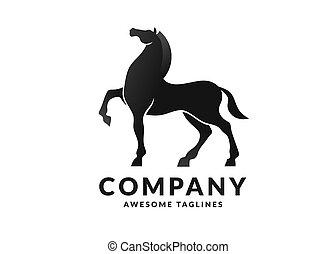 árnykép, ló, ábra, stilizált
