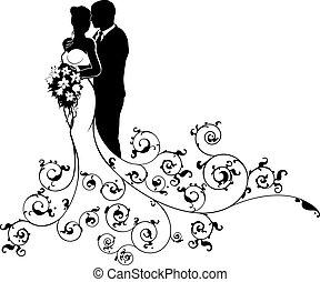 árnykép, lovász, menyasszony, párosít, elvont, esküvő
