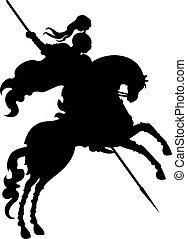 árnykép, lovag, hors, bajnok