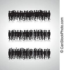 árnykép, megvonalaz, háttér emberek