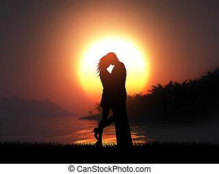 árnykép, párosít, ellen, tropikus, napnyugta, szerető, táj, 3