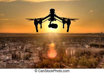 árnykép, panoráma, felül, repülés, henyél, város, párizs