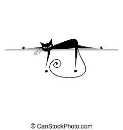 árnykép, relax., macska, fekete, tervezés, -e