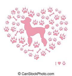 árnykép, sín, forma, pudli, játékkockák, háttér, film, kutya, kedves, heart.