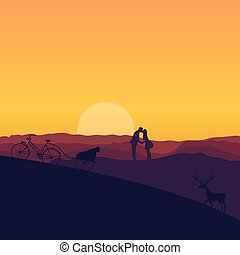 árnykép, szín, párosít, drámai, napnyugta, csókolózás