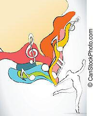 árnykép, színes, hangjegy, táncos, zene, lenget