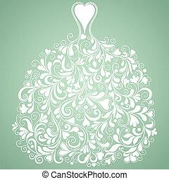 árnykép, szüret, vektor, esküvő, white ruha