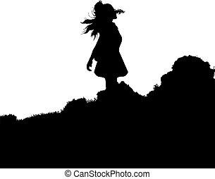 árnykép, szabadban, hegy, gyalogló, nő