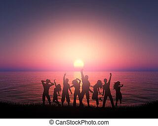 árnykép, tánc, emberek, ellen, óceán, napnyugta, táj, 3