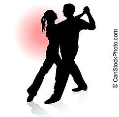 árnykép, tánc, nap, párosít, tangó, háttér., vektor, piros