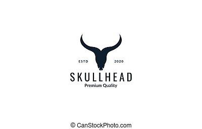 árnykép, tehén koponya, ábra, vektor, tervezés, jel, fej, állat