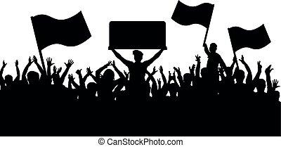 árnykép, tolong, emberek, fans., sport, háttér., zászlók