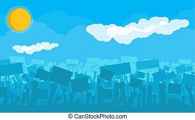 árnykép, tolong, lázadás, tiltakozik, éljenzés, vagy