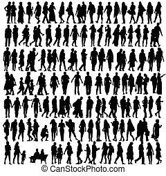 árnykép, vektor, fekete, emberek