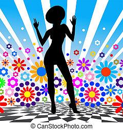 árnykép, vektor, girl., tánc