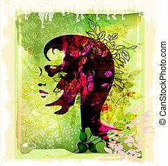 árnykép, virágos, háttér, gyönyörű woman, fiatal