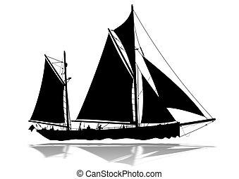 árnykép, vitorláshajó