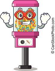 árul, cukorka gép, hős, szuper, karikatúra