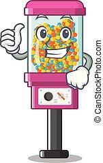 árul, feláll, cukorka gép, lapozgat, karikatúra