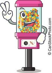 árul, két, cukorka gép, tapogat, karikatúra