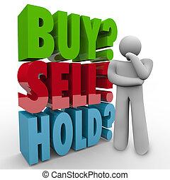 árul, megvesz, 3, szavak, befolyás, befektető, piac, részvény