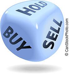 árul, megvesz, anyagi, dobókocka, befolyás, tekercs, piac, részvény