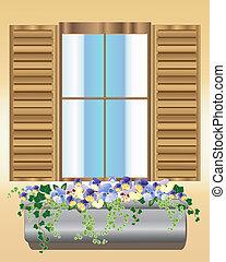 árvácska, doboz, ablak