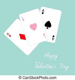 ász, lakás, gyémánt, piszkavas, szeret, aláír, boldog, kombináció, háttér, ásó, valentines, játék, tervezés, szív, kártya, day.
