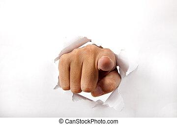 át, dolgozat, tapogat, szünet, hegyezés, kéz, ön, fehér