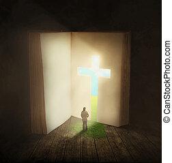 át, gyalogló, nő, ajtó, biblia