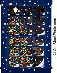 át, karácsony, ablak, fa