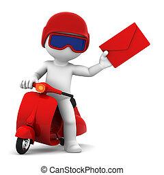 átadó, mail., elszigetelt, postás