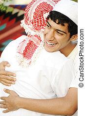 átkarolás, arab, feszítőkötelek, barátságos, két