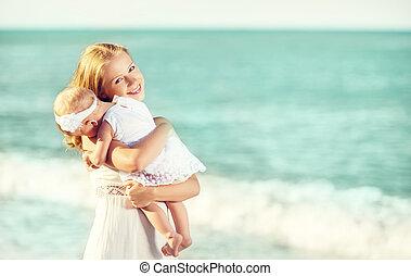 átkarolások, ég, white család, boldog, csecsemő, dress., anya