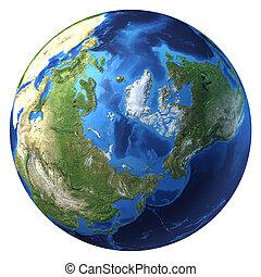 átmérő, földgolyó, pole)., északi-sark, rendering., (north, gyakorlatias, 3, földdel feltölt, kilátás