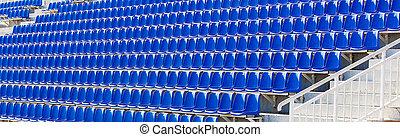 átmeneti, tribune., elnökké választ, kék, műanyag, ráncos