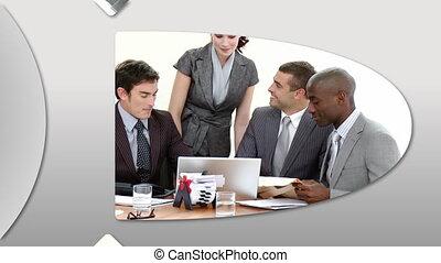 átnyújtás, montázs, businessteam