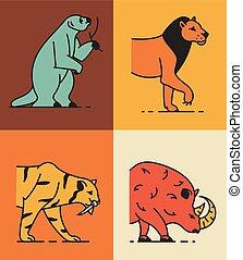 áttekintés, ábra, állhatatos, gyűjtés, vektor, állat, ikon