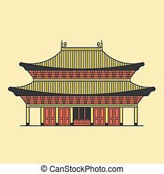 áttekintés, ábra, vektor, ázsiai, kína, halánték