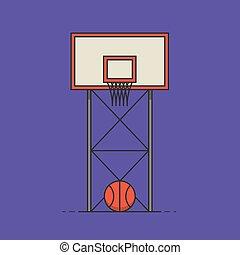 áttekintés, ábra, vektor, sport, kosárlabda, ikon