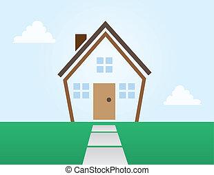 áttekintés, épület, elvont