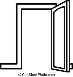 áttekintés, ajtó, mód, ikon, épület, nyílik
