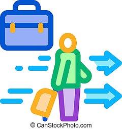 áttekintés, bőrönd, ember, vektor, ábra, ikon, ügy