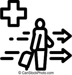 áttekintés, bőrönd, vektor, ábra, természetjáró, orvosi segítség, ikon