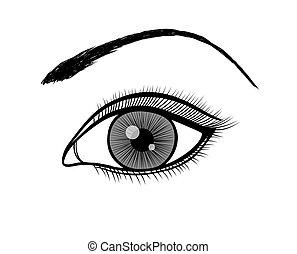 áttekintés, black női, monochrom, fehér, eye.