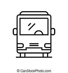 áttekintés, egyenes, vektor, aláír, ábra, lineáris, autóbusz, jelkép., fogalom, ikon, érkező